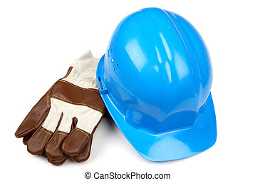blue helmet and working gloves - isolated object on the ...