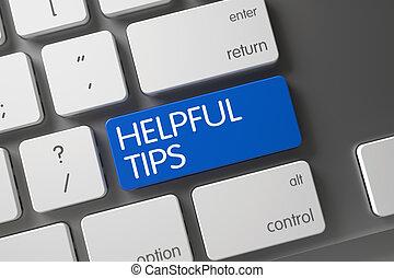 Blue Helpful Tips Keypad on Keyboard. 3D.