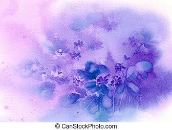 Blue hepatica on violet background watercolor