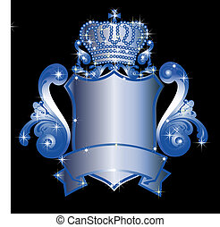 blue heraldic shield - illustration of a blue heraldic...