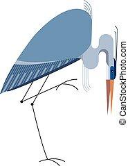 Blue Heron on white background, minimalist style
