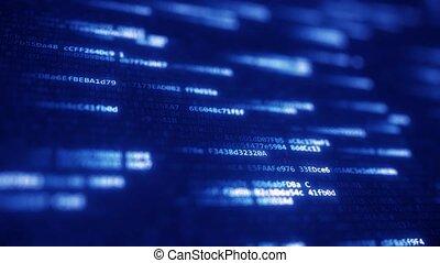 Blue hexadecimal symbols flashing on computer screen. Loopable 3D animation