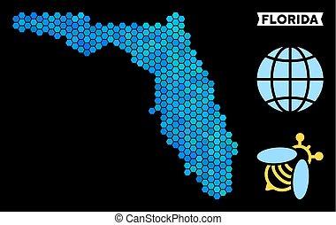 Blue Hexagon Florida Map