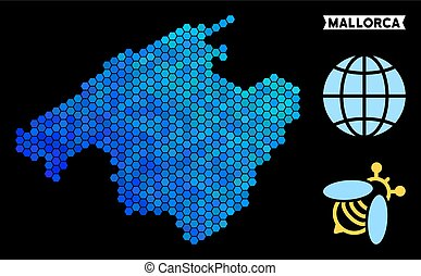 Blue Hexagon Spain Mallorca Island Map - Hexagon Blue Spain...