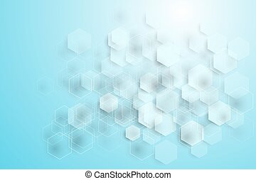 Blue Hexagonal Shapes Medical Background Concept