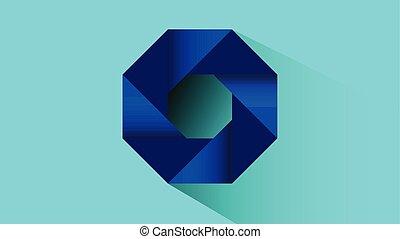 Blue hexagonal swirl 3d vector