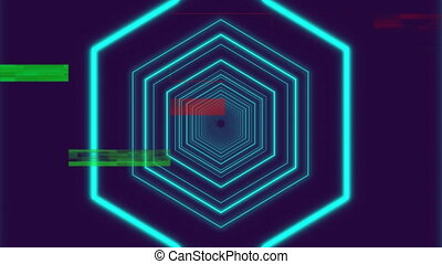 Blue hexagons enlarging on dark background