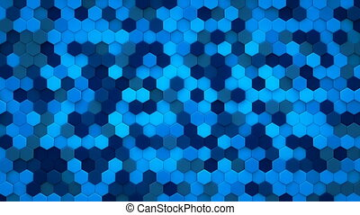 Blue hexagons mosaic 3D render loopable animation - Blue...