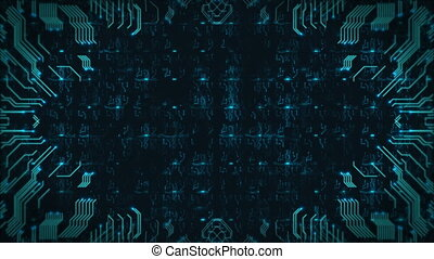 Blue Hi-Tech Circuit Board Background. Computer Generated Seamless Loop Abstract Animation.