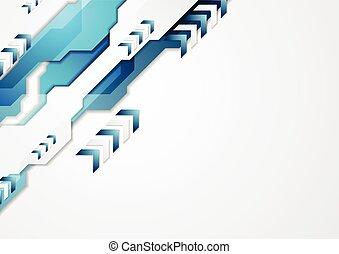Blue hi-tech corporate design with arrows