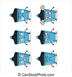 Blue highlighter cartoon character with various angry expressions