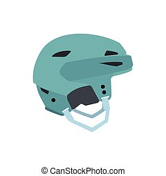 Blue hockey helmet flat icon