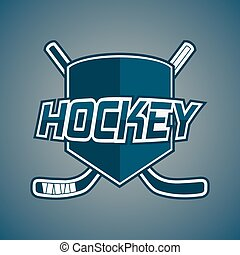 Blue Hockey Team logo with Sticks and Shield