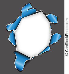 Hole in the sheet of paper - Blue Hole in the sheet of paper