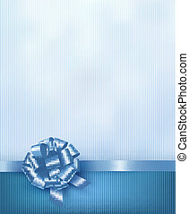 Blue holiday background with gift glossy bow and ribbon. Vector