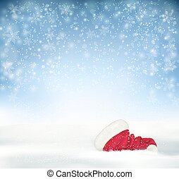 Blue Holiday Christmas background with santa hat, snow and snowflakes . Vector.