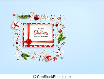 Blue holiday Christmas card - Blue flat lay Christmas...
