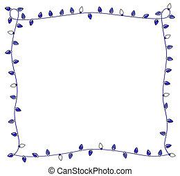 Blue Holiday Lights Frame