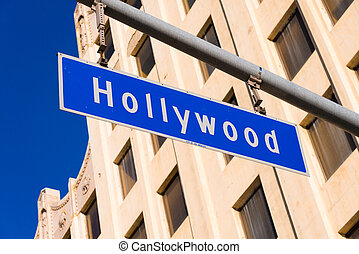 Blue Hollywood Street sign