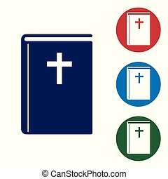 Blue Holy bible book icon isolated on white background. Vector Illustration