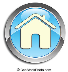 Blue home button - Blue icon with home pictogram