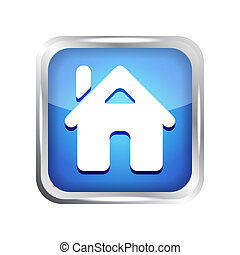 blue home button icon on a white ba