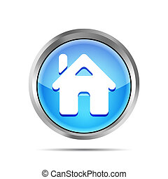 blue home button icon on a white background