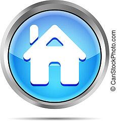 blue home button icon on a white