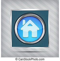 blue home button icon