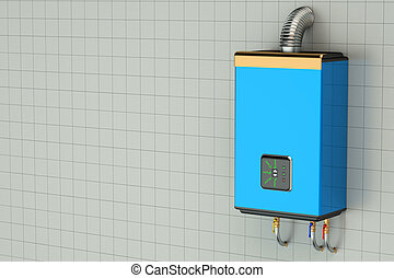 Blue home gas-fired boiler, water heater