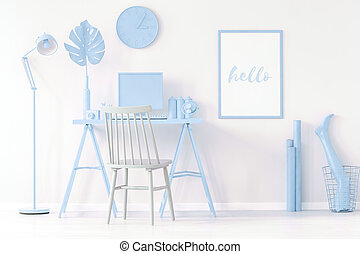 Blue home office interior