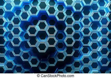 Blue honeycomb background
