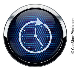Blue honeycomb clock icon.