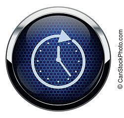 Blue honeycomb clock icon.