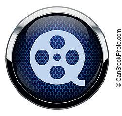 Blue honeycomb movie icon.