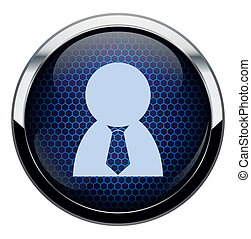 Blue honeycomb people icon
