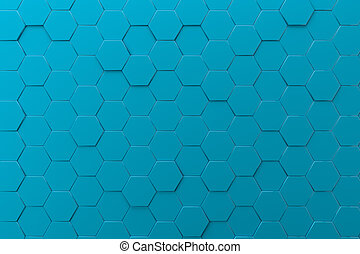blue honeycombs abstract hexagons background, 3d illustration