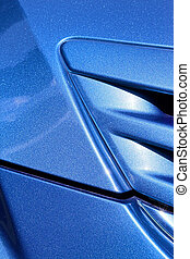 blue hood close up