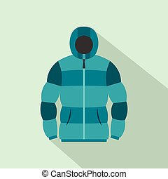 Blue hoodie icon, flat style - Blue hoodie icon in flat...