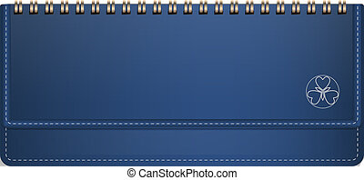 Blue horizontal note book icon, realistic style