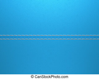 Blue horizontal stitched leather background. Large...