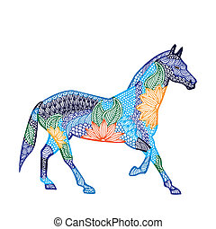 Blue Horse illustration- Chinese zodiac