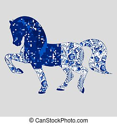 Blue Horse in the style floral Gzhel