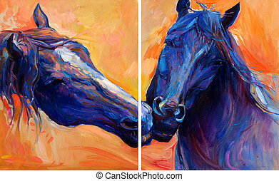 Blue horses - Original abstract oil painting of beautiful...