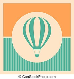 Blue hot air balloon retro icon on striped background.
