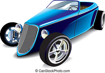 Blue Hot Rod - Vectorial image of old-fashioned blue hot rod...
