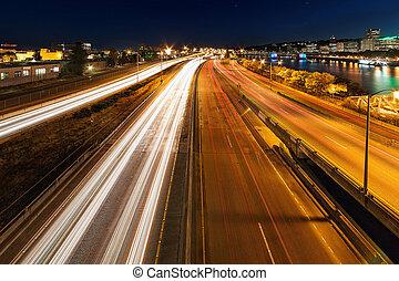 Blue Hour Freeway Light Trails - Portland Oregon downtown...