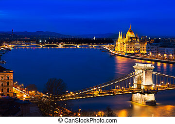 Blue hour in Budapest with Szechenyi Chain Bridge, Hungary