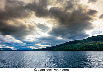 Blue Hour on Loch Ness, Scotland - Dramatic sunset over the...
