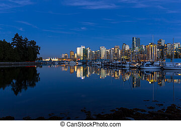Blue Hour Reflection of Vancouver BC Skyline